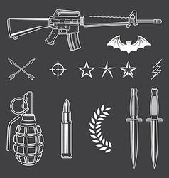 Military emblem elements set vector