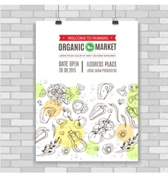 Organic food Poster template vector image