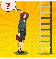 Pop art business woman looking up at ladder vector
