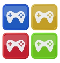 set of four square icons with gamepad vector image vector image