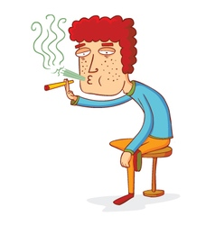 sitting smoker vector image