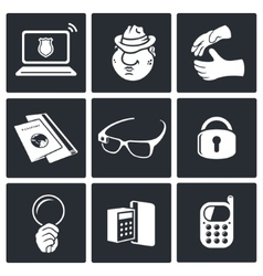 Spying icon set vector image