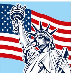 Statue of liberty usa flag vector