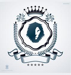 vintage emblem made in heraldic design with lion vector image vector image