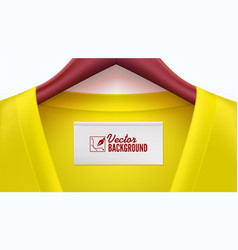 Yellow clothes and empty tag on the collar wooden vector