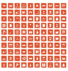 100 box icons set grunge orange vector