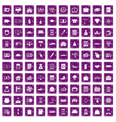 100 credit icons set grunge purple vector