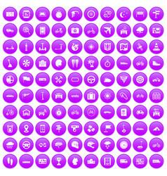 100 ride icons set purple vector