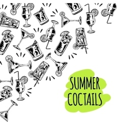 Summer coctails on white background vector