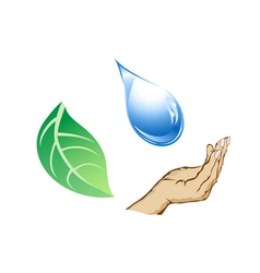 Cycle of water-drop hand and leaf vector