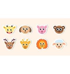 cute baby animal head stickers vector image