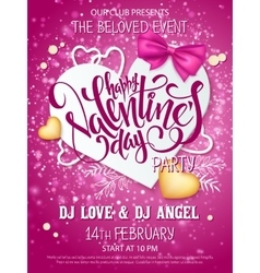 Happy valentines day party poster with vector