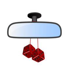 car mirror with pair of red dices vector image