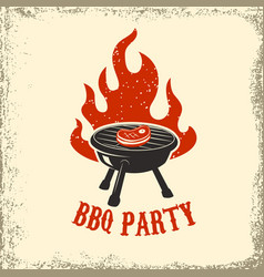 bbq party grill with fire on grunge background vector image