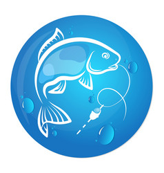 fish and water drop design for fishing vector image