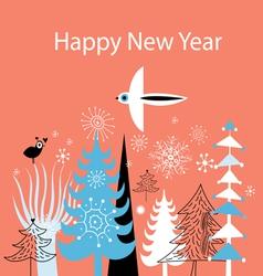 Christmas greeting card with Christmas trees vector image