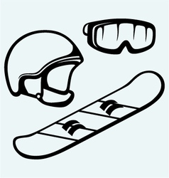 Set equipment for snowboarding vector image