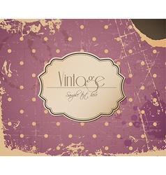 Pink grunge retro vintage background with label vector image