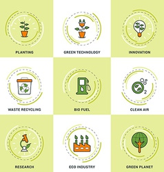 Modern ecology line icons set planting research vector