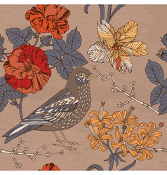 Bird and blooming flowers vector