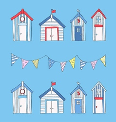 Hand drawn beach huts and bunting vector