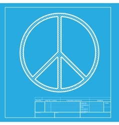 Peace sign  white section of icon on vector