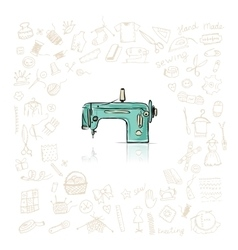 Sewing set sketch for your design vector