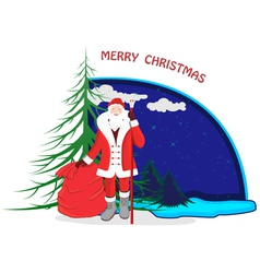 A cartoon with santa claus vector