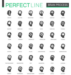 black classic brain mind process icons set vector image vector image