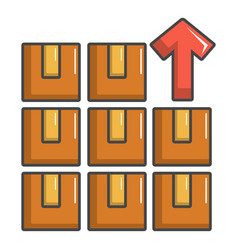 Boxes in warehouse icon cartoon style vector