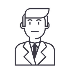 businessman in suit line icon sign vector image vector image