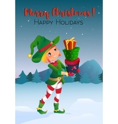 cartoon character elf with gifts vector image vector image