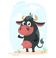 cartoon cute pretty cow standing and smiling vector image vector image