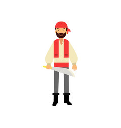 cartoon flat bearded pirate character standing vector image vector image