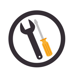 circular emblem with wrench and screwdriver vector image vector image