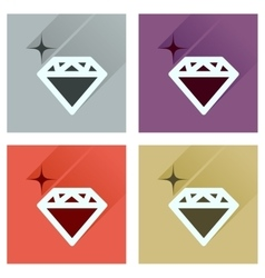 Concept of flat icons with long shadow diamond vector