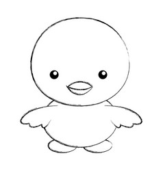 Cute sketch draw chick cartoon vector