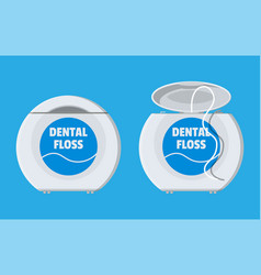 dental floss in box container thread for tooth vector image vector image