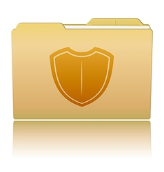 Folder with shield vector image vector image