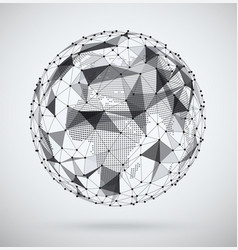 global network sphere with a pixel map inside vector image vector image