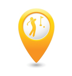 golf icon yellow map pointer vector image vector image