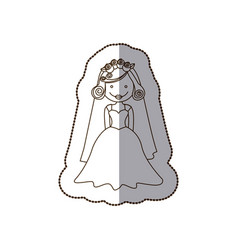 Happy bride with dress and veil vector