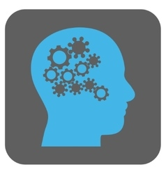 Human mind gears rounded square icon vector