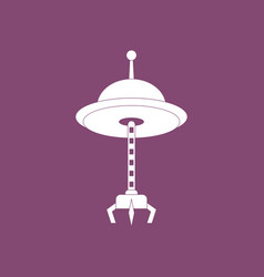 Icon flying saucer and crane vector