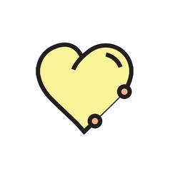 Icon heart pen tool style yellow vector
