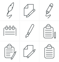 Line Icons Style Writing icons vector image