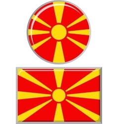 Macedonian round and square icon flag vector