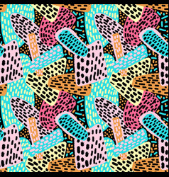 memphis style hand drawn textured seamless pattern vector image vector image