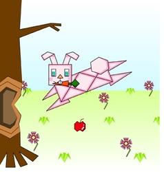 Paper pink rabbit vector image vector image