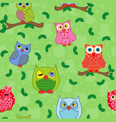 seamless pattern with ornamental owls over light vector image